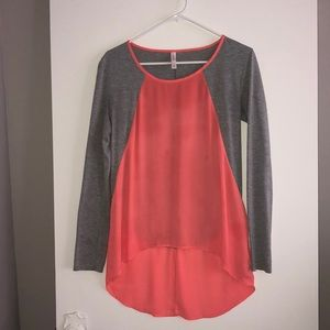 Xhilaration Small Coral And Gray Long Sleeve Top